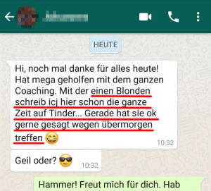 Testimonial WhatsApp über Coaching