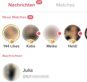 Tinder Likes und Matches