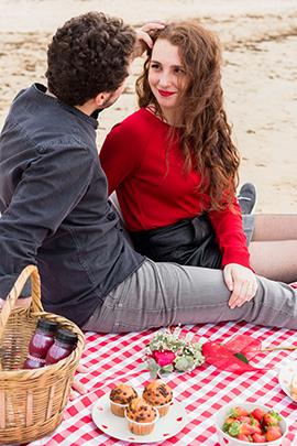 romantisches picknick beim date