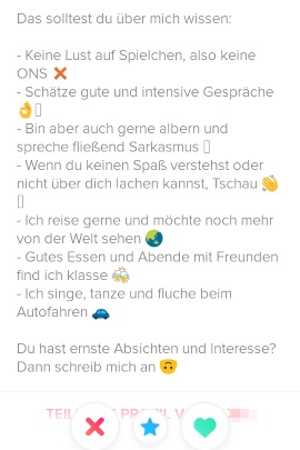 Profil auf dating-sites beispiele